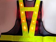 他の写真2: 【2級資格者】文字入り 赤色LED16個点滅 夜光チョッキ 6CM幅 紺メッシュ・イエロー反射(明るい)