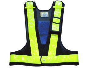 画像1: 多機能安全ベスト(収納ポケット付き) 夜光チョッキ6cm幅 紺メッシュ・イエロー反射