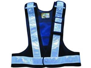 画像1: 多機能安全ベスト(収納ポケット付き) 夜光チョッキ6cm幅 紺メッシュ・シルバー反射