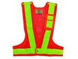 多機能安全ベスト(収納ポケット付き) 夜光チョッキ6cm幅 オレンジメッシュ・イエロー反射