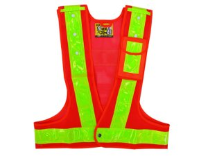 画像1: 多機能安全ベスト(収納ポケット付き) 夜光チョッキ6cm幅 オレンジメッシュ・イエロー反射