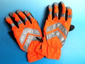 画像1: 防水防寒 蛍光オレンジ手袋 夜光付