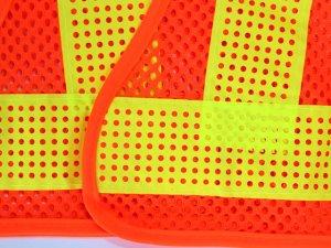 画像3: エアスルー安全ベスト オレンジメッシュxイエロー反射