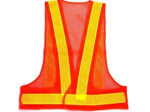 画像1: エアスルー安全ベスト オレンジメッシュxイエロー反射