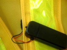 他の写真3: 黄色LED16個点滅 夜光チョッキ 6cm幅 オレンジメッシュ・イエロー反射 黄色点滅