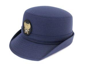 画像1: 女子ハイバック帽 紺  帽章付き