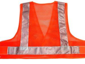 画像3: エアスルー安全ベスト【ショート丈40cm】 オレンジメッシュxシルバー反射
