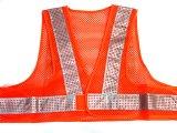 エアスルー安全ベスト【ショート丈40cm】 オレンジメッシュxシルバー反射
