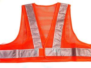 画像1: エアスルー安全ベスト【ショート丈40cm】 オレンジメッシュxシルバー反射