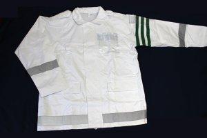 画像1: 警備 雨合羽 上衣 ズボン付【夜光付】背抜きメッシュ 上着とズボンに反射材付き