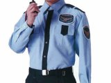 夏 警備用 長袖シャツ ブルー/紺 ツートン(中国生地使用分)