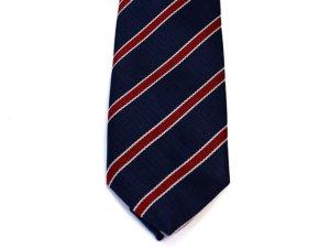 画像1: ネクタイ ストライプ 紺/赤ライン細いタイプ