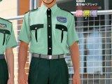 夏 警備用 G404半袖 男女ペアシャツ グリーンツートン