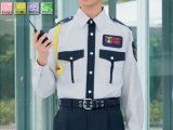 夏 警備用 G413長袖 男女ペアシャツ 薄いグレー ツートン