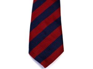 画像1: ネクタイ ストライプ 紺/赤ライン太いタイプ