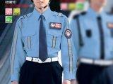 夏 警備用 長袖シャツ 水色(反射付き)