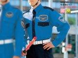 冬 警備用 長袖カッター ブルー/紺ツートン