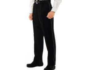 画像1: 警備用 冬アジャスターパンツ 黒 反射パイピング付き