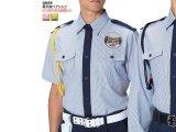 夏 警備用 半袖シャツ 紺 ストライプ柄