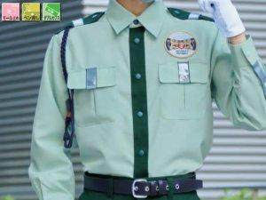 画像1: 夏 警備用 GS616長袖シャツ(反射付)グリーン