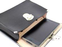 他の写真3: キーケース 黒(携行カバン) 中型 黒皮製 17x13cm 【スマホ対応】