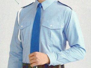 画像1: 夏 肩章(反射)付き サックス ワイシャツ 長袖/半袖