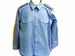 画像2: 夏 肩章(反射)付き サックス ワイシャツ 長袖/半袖