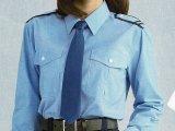 【女子用】 夏 肩章(反射)付き サックス ワイシャツ 長袖/半袖