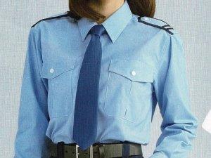 画像1: 【女子用】 夏 肩章(反射)付き サックス ワイシャツ 長袖/半袖