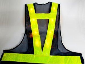 画像3: 黄色LED16個点滅 夜光チョッキ 6cm幅 紺メッシュ・イエロー反射 黄色点滅