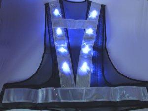 画像3: 青色LED16個点滅 夜光チョッキ 6cm幅 紺メッシュxシルバー反射 青色点滅(高速関連)
