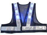 青色LED16個点滅 夜光チョッキ 5cm幅 紺メッシュxシルバー反射 青色点滅(高速関連) 着丈40cm ショート丈