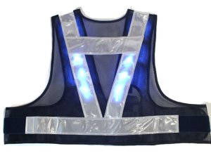画像3: 青色LED16個点滅 夜光チョッキ 5cm幅 紺メッシュxシルバー反射 青色点滅(高速関連) 着丈40cm ショート丈