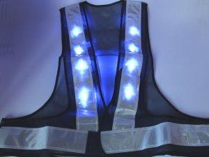 画像2: 青色LED16個点滅 夜光チョッキ 6cm幅 紺メッシュxシルバー反射 青色点滅(高速関連)