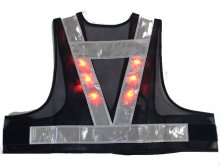他の写真2: 赤色LED12個点滅 夜光チョッキ 5cm幅 ショート丈 紺メッシュ・シルバー反射(明るい)