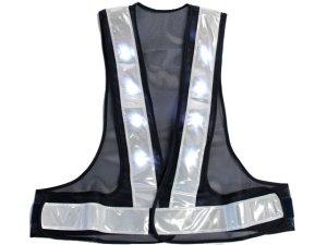 画像2: LED16個点滅 夜光チョッキ 6cm幅 紺メッシュxシルバー反射 白色点滅・点灯(鉄道・高速関連)