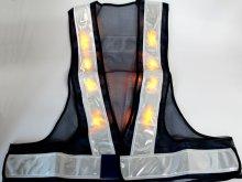 他の写真1: 黄色LED16個点滅 夜光チョッキ 6cm幅 紺メッシュ・イエロー反射 黄色点滅