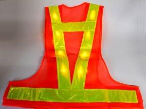 画像3: 黄色LED16個点滅 夜光チョッキ 6cm幅 オレンジメッシュ・イエロー反射 黄色点滅