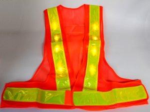画像2: 黄色LED16個点滅 夜光チョッキ 6cm幅 オレンジメッシュ・イエロー反射 黄色点滅