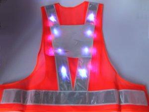 画像2: 青色LED16個点滅 夜光チョッキ 6CM幅 オレンジメッシュ・シルバー反射(明るい)【背面 台形反射シート付き】
