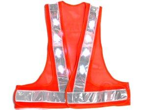 画像2: LED16個点滅 夜光チョッキ 6cm幅 オレンジメッシュxシルバー反射 白色点滅・点灯(鉄道・高速関連)