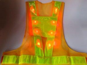 画像2: 赤色LED16個点滅 夜光チョッキ 6CM幅 黄メッシュ・イエロー反射(明るい)【背面 台形反射シート付き】