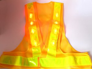 画像2: 赤色LED16個点滅 夜光チョッキ 6CM幅 黄メッシュ・イエロー反射(明るい)