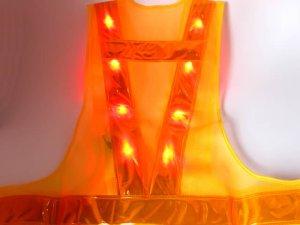 画像3: 赤色LED16個点滅 夜光チョッキ 6CM幅 黄メッシュ・黄反射(明るい)