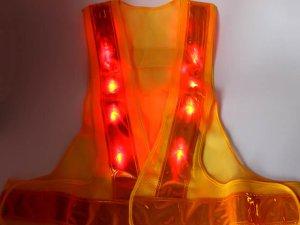 画像2: 赤色LED16個点滅 夜光チョッキ 6CM幅 黄メッシュ・黄反射(明るい)