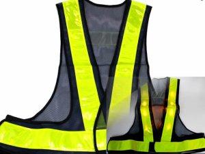 画像1: 黄色LED16個点滅 夜光チョッキ 6cm幅 紺メッシュ・イエロー反射 黄色点滅