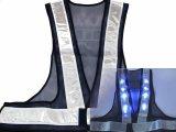 青色LED16個点滅 夜光チョッキ 6cm幅 紺メッシュxシルバー反射 青色点滅(高速関連)