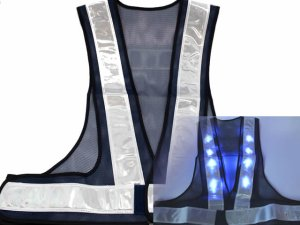 画像1: 青色LED16個点滅 夜光チョッキ 6cm幅 紺メッシュxシルバー反射 青色点滅(高速関連)