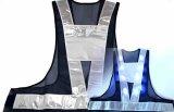 青色LED16個点滅 夜光チョッキ 6CM幅 紺メッシュ・シルバー反射(明るい)【背面 台形反射シート付き】