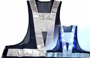 画像1: 青色LED16個点滅 夜光チョッキ 6CM幅 紺メッシュ・シルバー反射(明るい)【背面 台形反射シート付き】